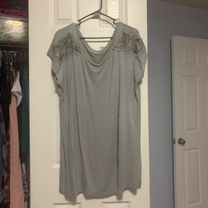Like new, grey tunic with gold shoulder beading